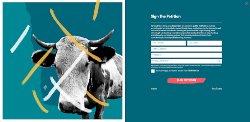 Cow graphic with sign up form from Four Paws' site