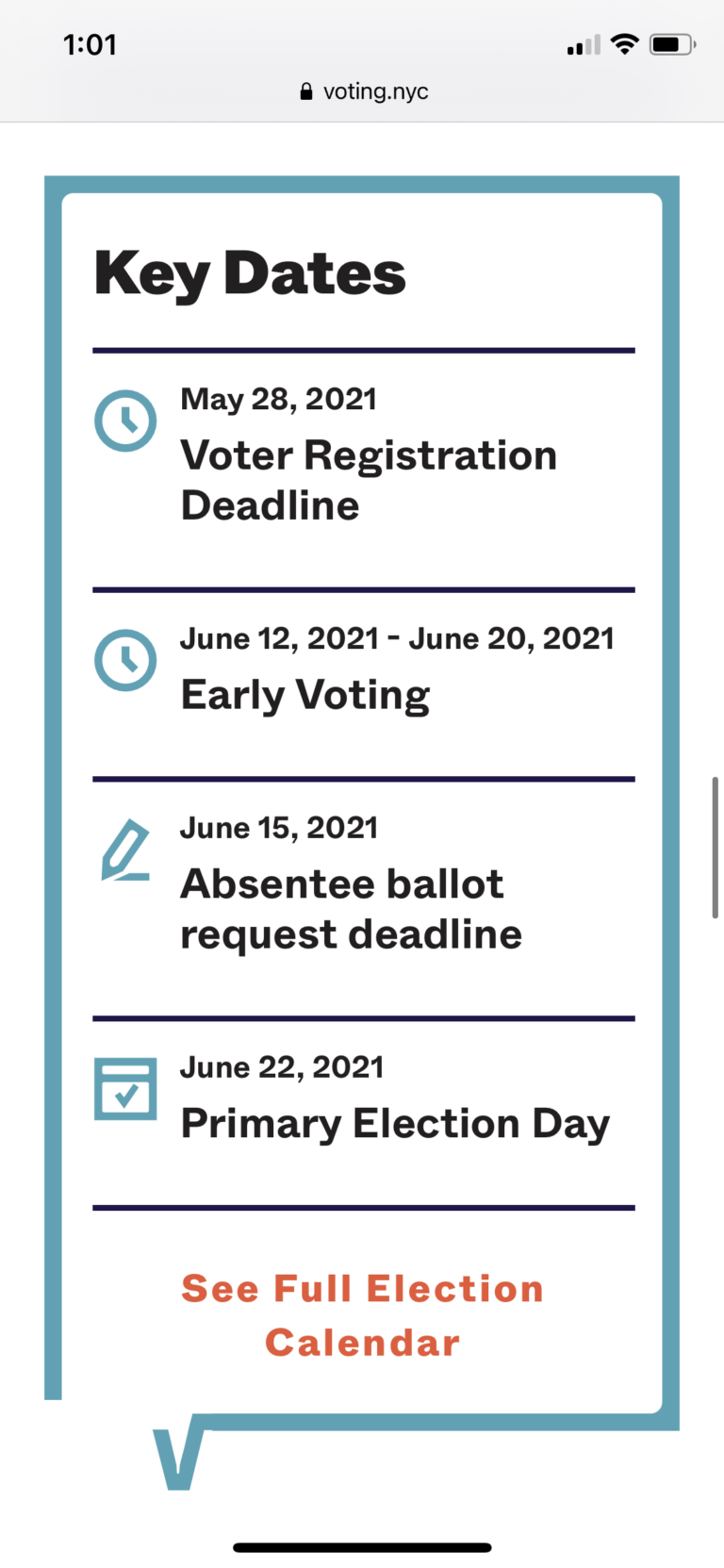 Mobile screenshot of the NYC Votes website